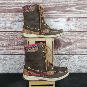 Sperry Top-Sider Hikerfish Boots Brown Pink Plaid